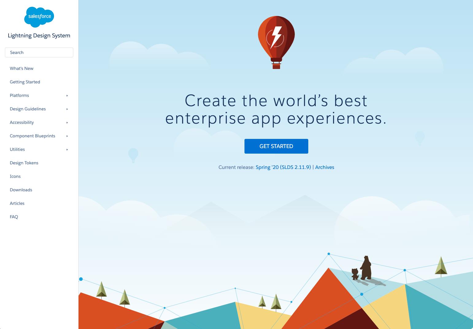 Salesforce Lightning DesignSystem Homepage
