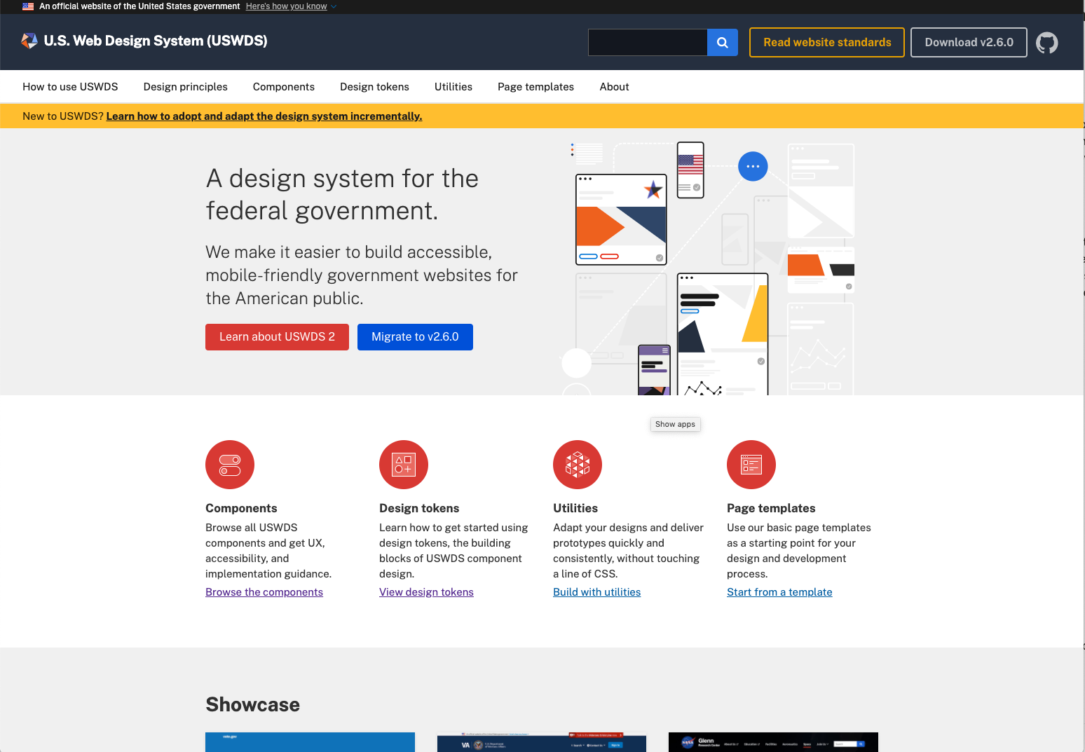 US Web Design Government Design System Homepage