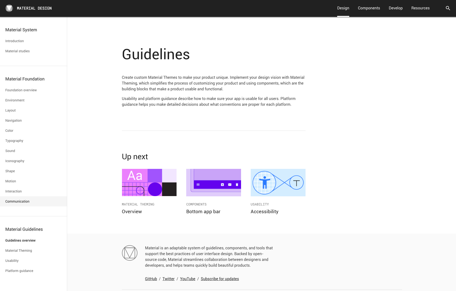 Google Material Design System Homepage