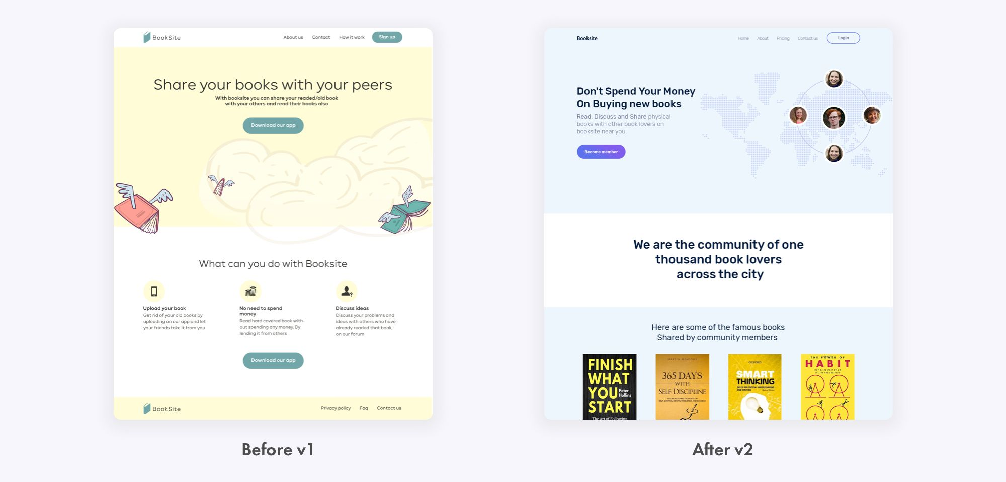 Designs Before and After screenshots of taking DesignerUp Course