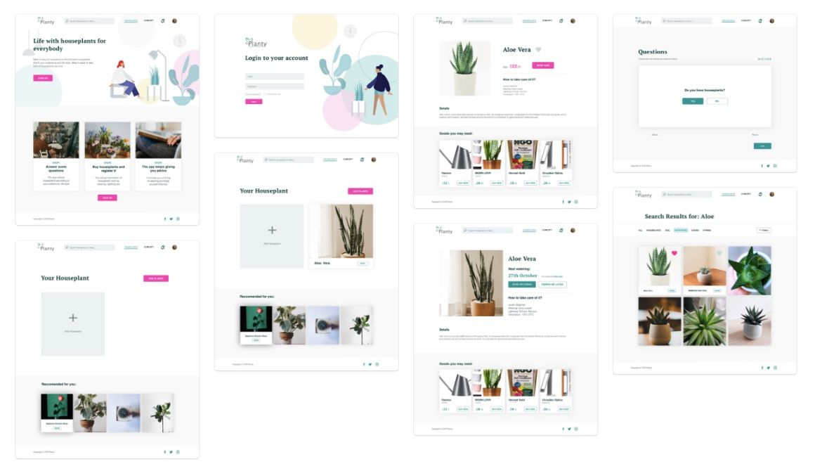 Planty UI/UX Product Screens