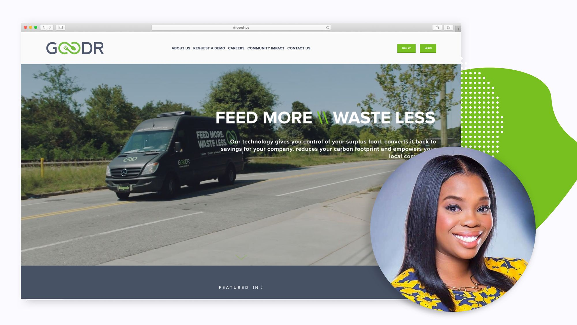 Goodr homepage - feed more, waste less