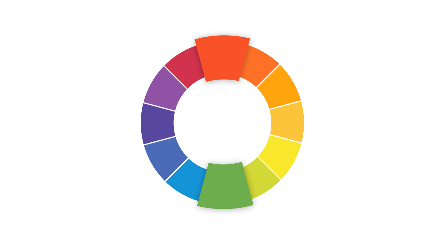 Color wheel showing complimentary color palette