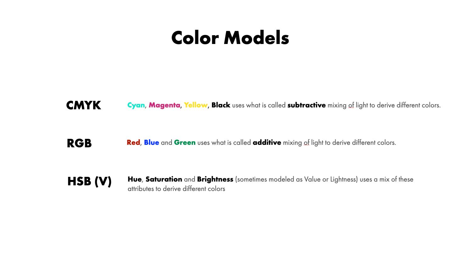 CMYK, RGB, HSB Color Models/Space