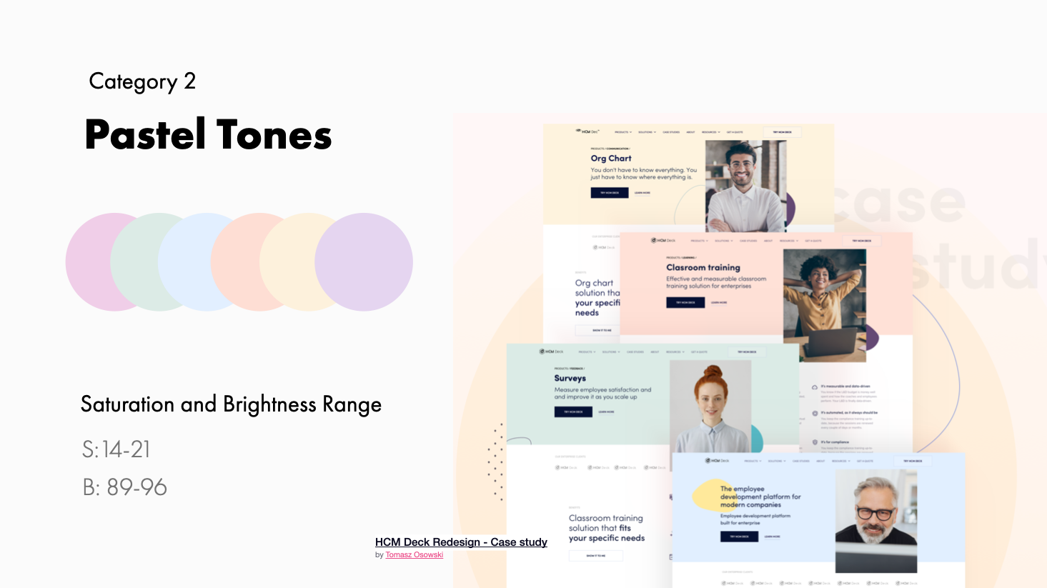 Pastel tone example and range | HCM Deck Redesign Case study by Tomasz Osowski