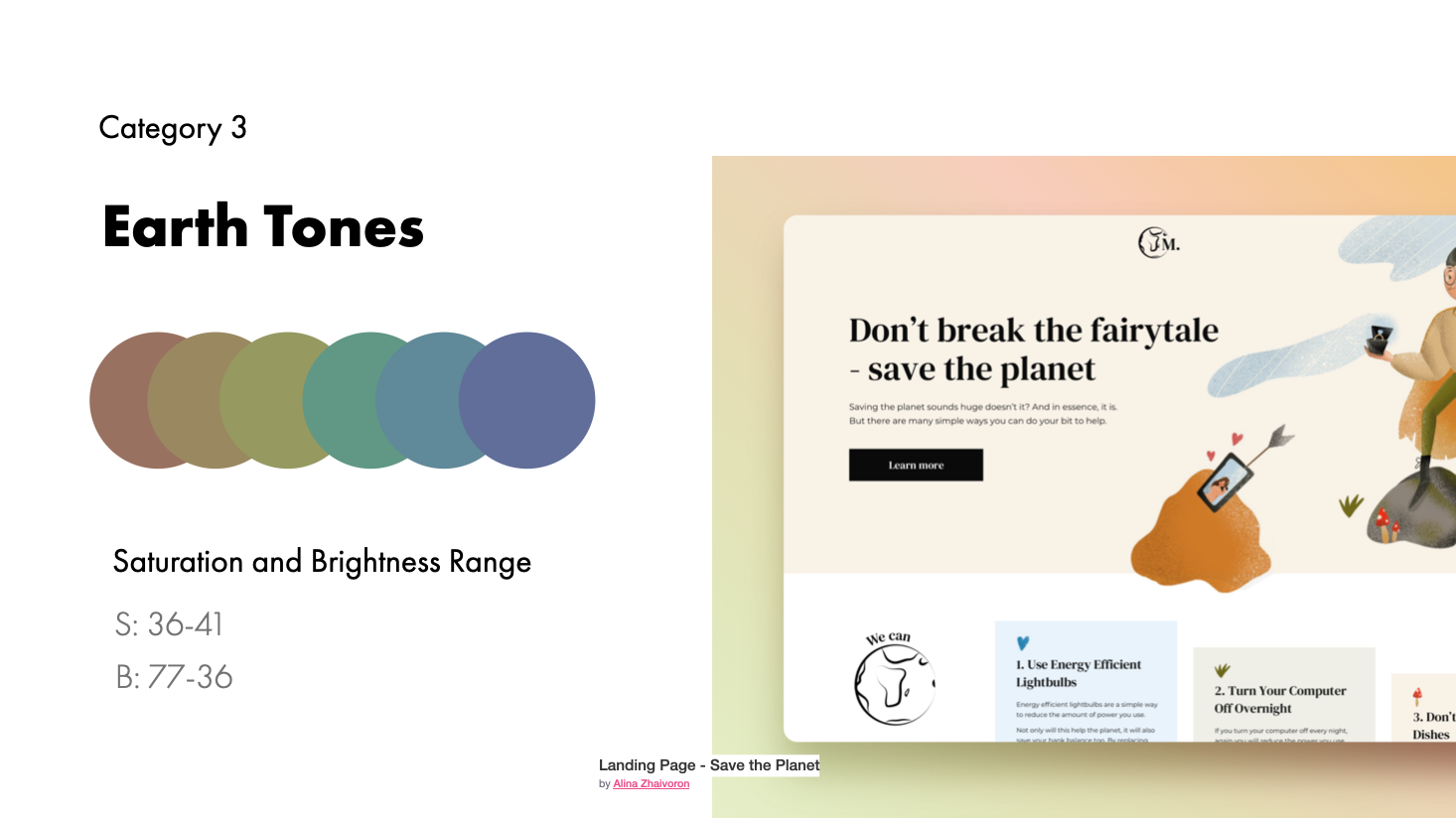 Earth tone examples and range | Landing Page - Save the Planet by Alina Zhaivoron