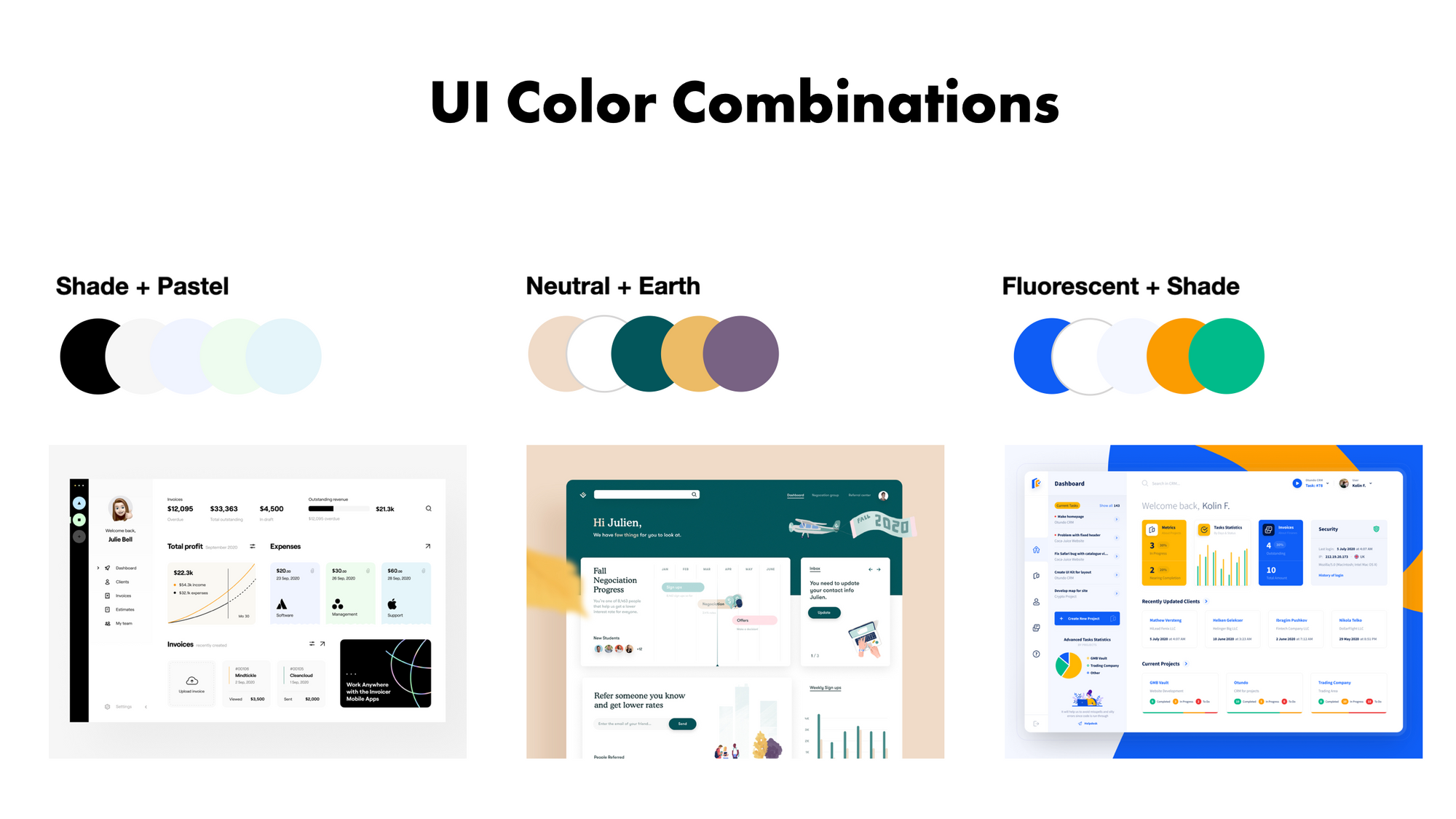 UI color combination examples Shade+Pastel | Neutral+Earth | Flourescent+Shade