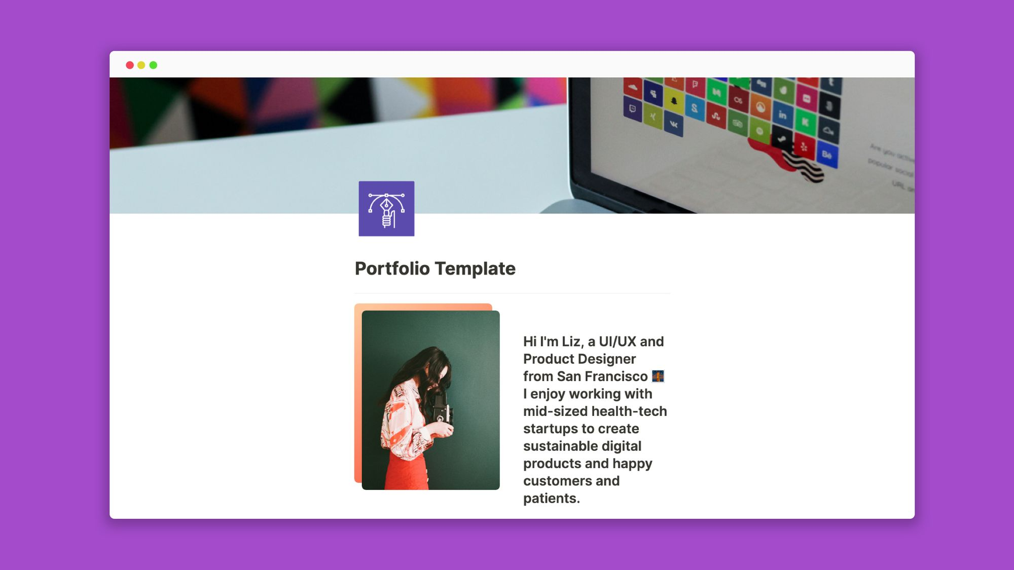 Notion portfolio templates by DesignerUp