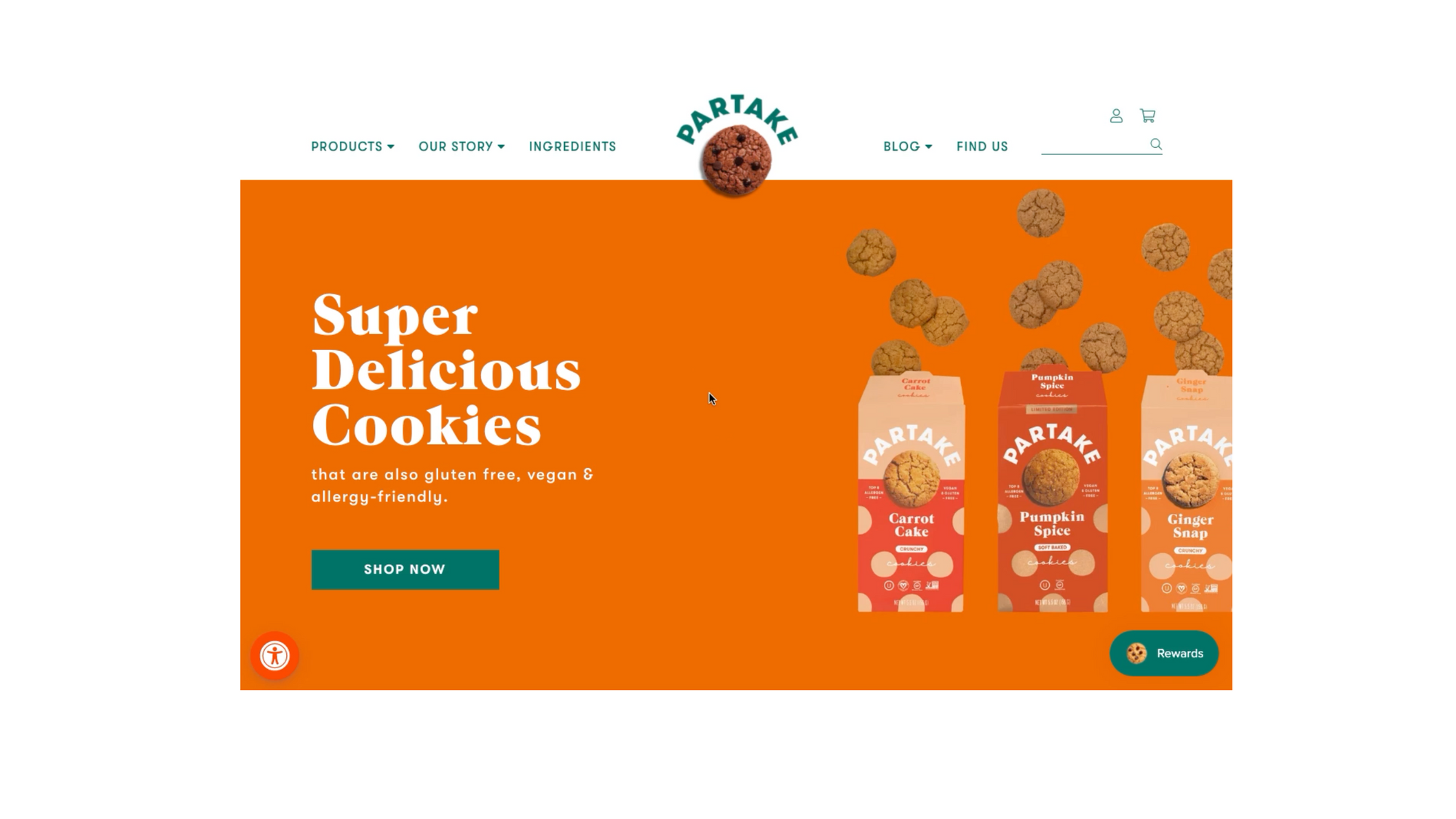 Partake cookie site - example of great flow