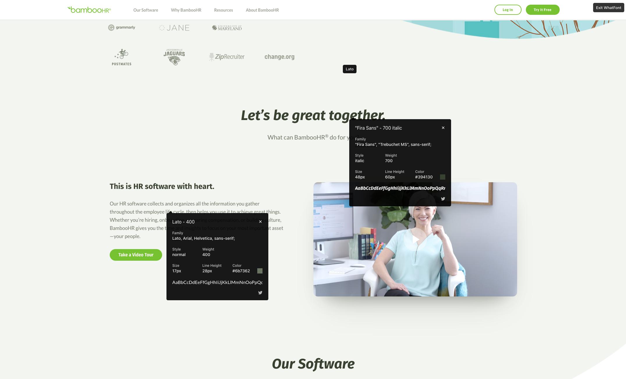 Screenshot of BambooHR homepage