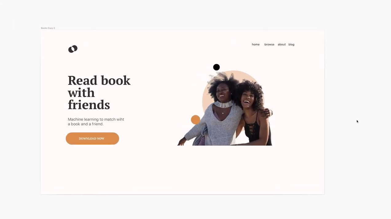 Landing page design with two happy friends and circle graphics behind them