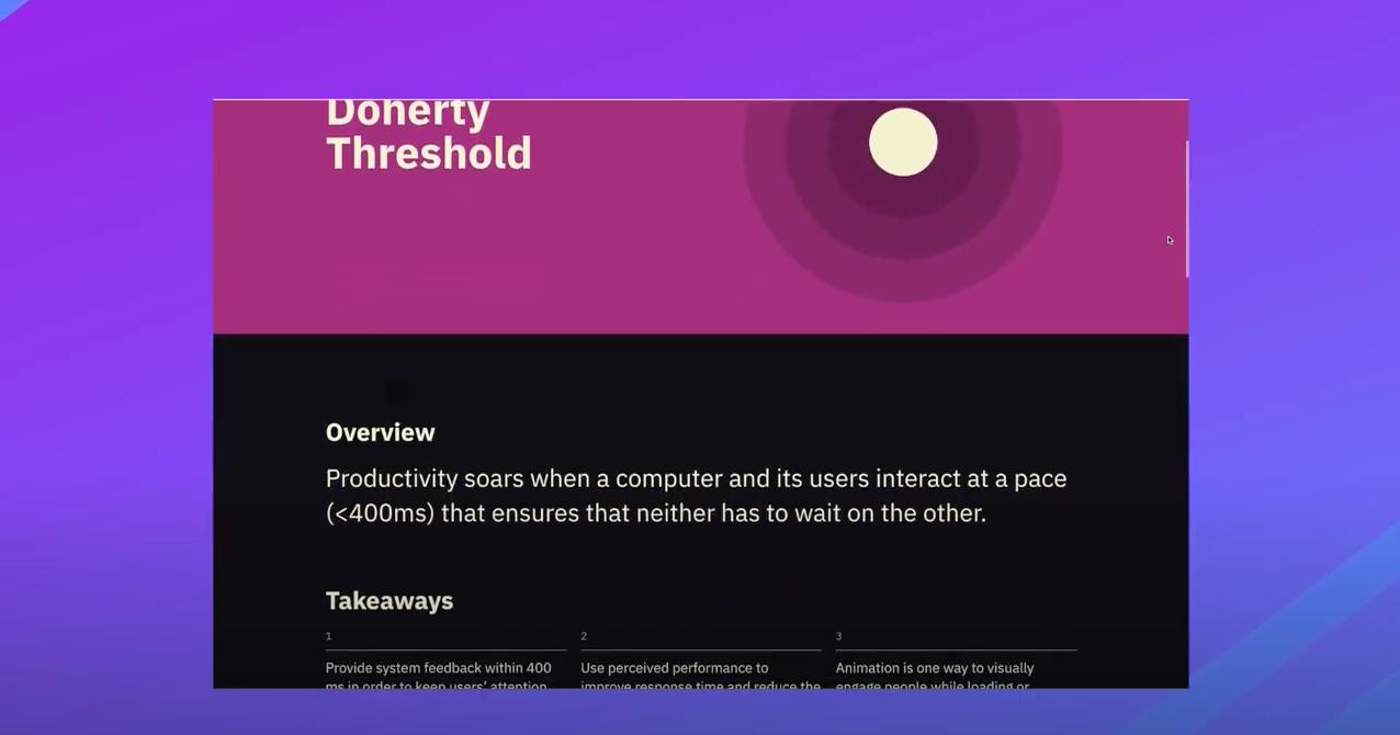 Pink and black screen describing Doherty Threshold