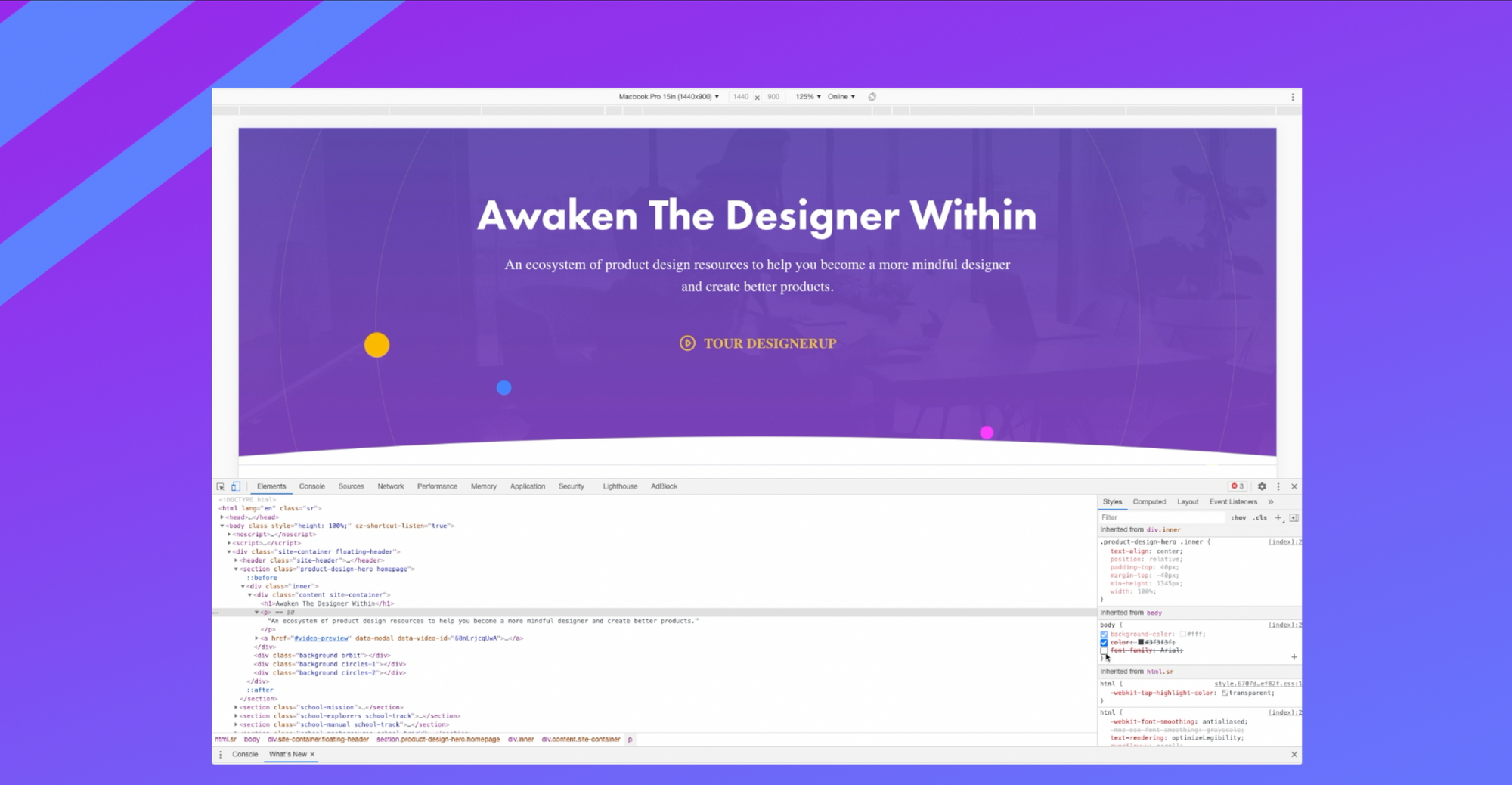 Screenshot of DesignerUp homepage with Chrome code inspector