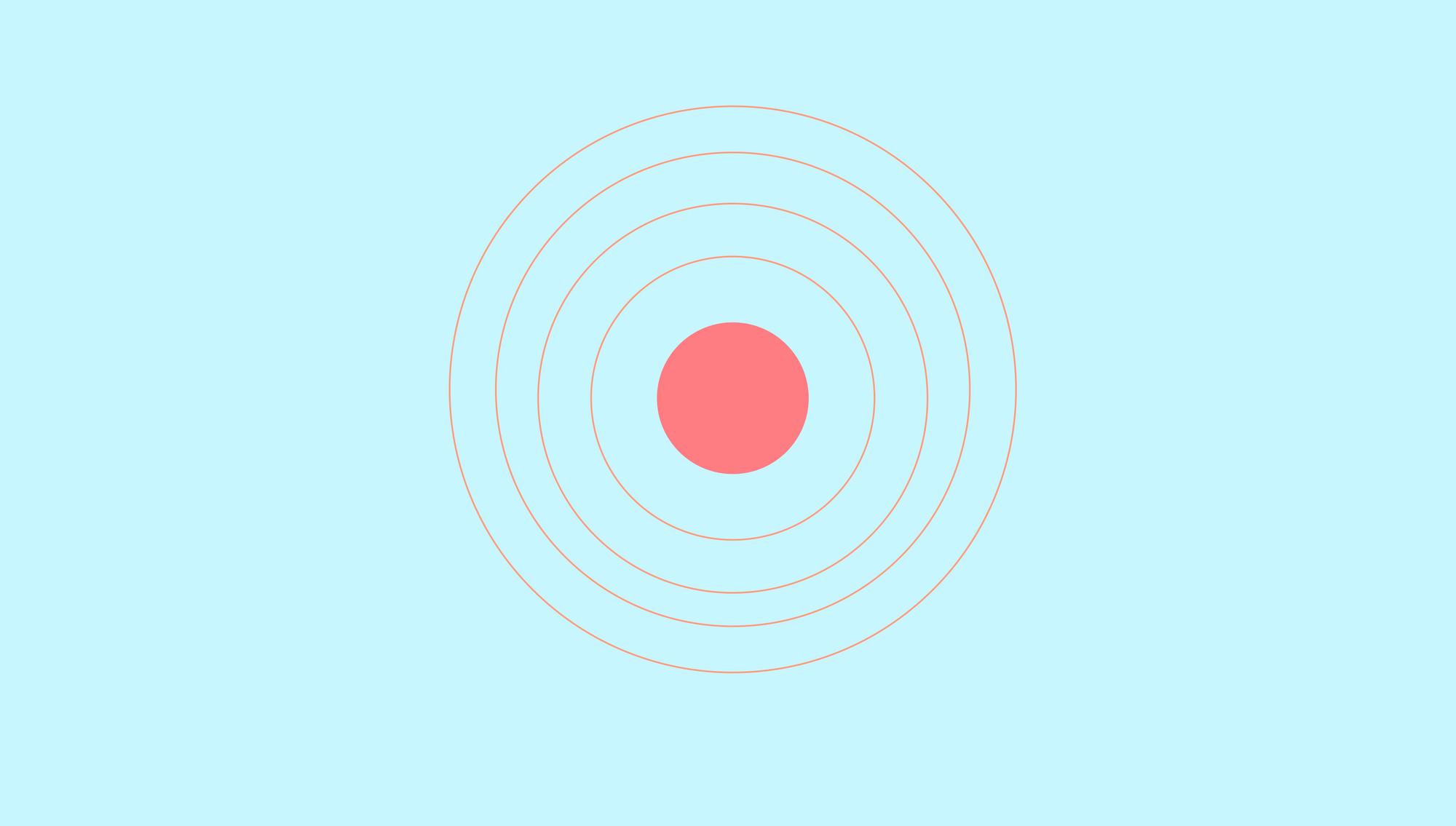 Coral bullseye on light blue bg